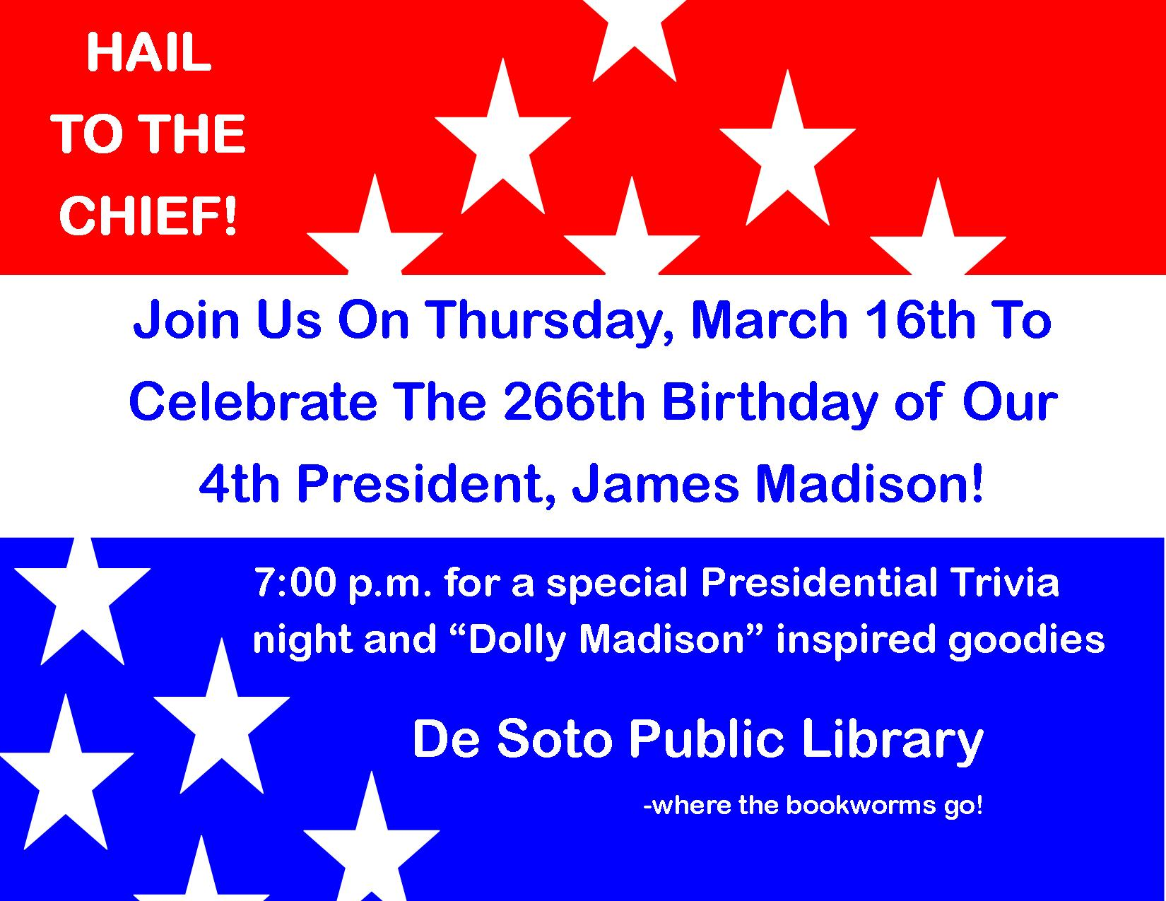 Hail to the chief trivia night flier